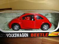 Red Volkswagen Beetle Die Cast Car With Plastic Pull Back 1:32 Power Speed