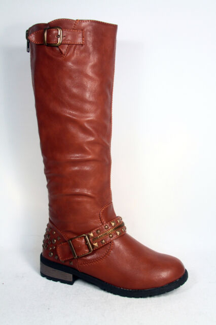 Women's Fashion Stylish Low Heel  Motocycle Riding Knee High Boot Size 5 -10 NEW