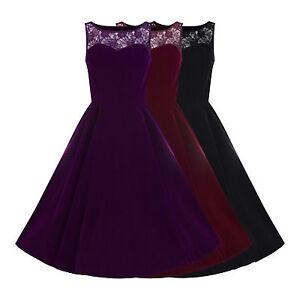Ladies-40s-50-039-s-Vintage-Velvet-Lace-Insert-Party-Cocktail-Evening-Dress-New-8-18