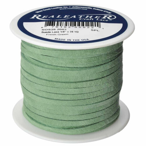 """Suede Craft Lace Fresh Green 1//8/"""" x 25 yds Realeather Made in USA"""