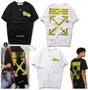 Unisex Off White T-Shirt Trendy Goldener Pfeil Alarm T-Shirt Sport Kurzarm