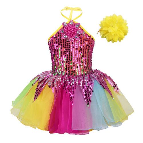 Mädchen Prinzessin Kleider Pailletten Neckholder Tanzkleid Weihnachten Fasching
