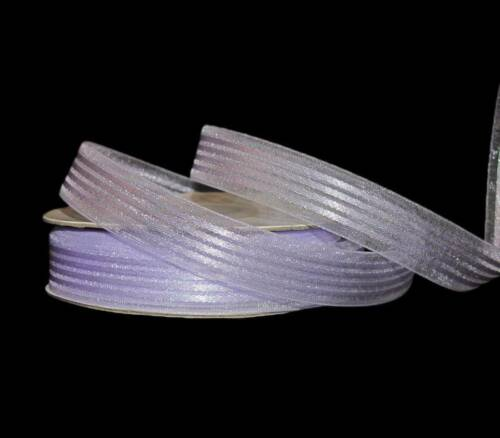 "25 Yards Lavender Pastel Purple Satin Sheer Stripe Ribbon 5//8/""W"
