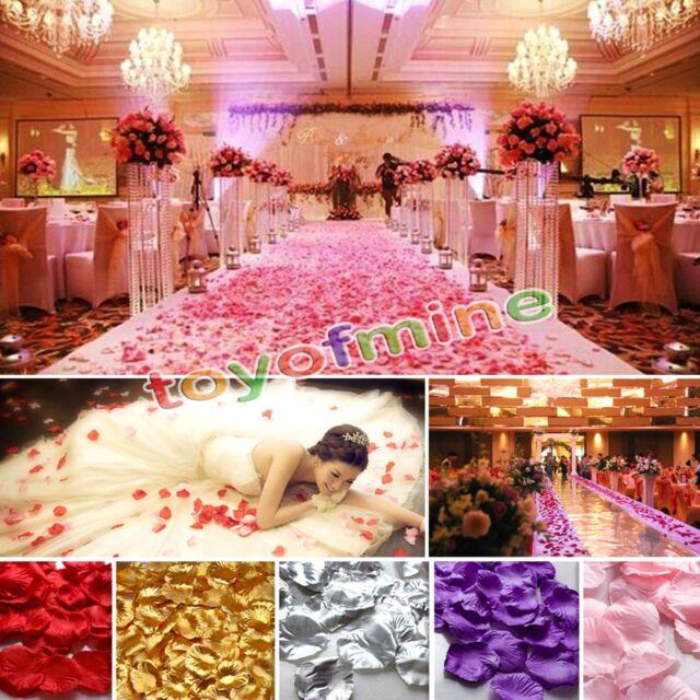 200/1000pcs Various Colors Silk Flower Rose Petals Wedding Party Decorations