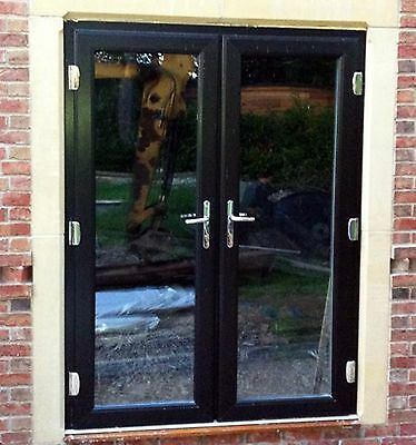 BLACK UPVC FRENCH DOORS MADE TO MEASURE- NEW #020