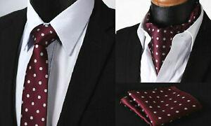 Merlot-Cravate-Rouge-a-Pois-Cravate-Ascot-Foulard-Argent-Hanky-Mariage-Mouchoir