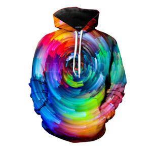 New Women//Men Colorful Tie-dye Hypnosis Funny 3D Print Casual Sweatshirt Hoodie