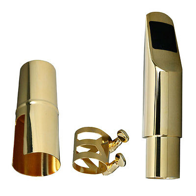A2 Gold Plated Alto Saxophone Metal Mouthpiece + Cap + Ligature Gold #7