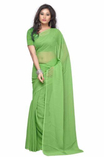Chiffon Saree Party Wear Indian Ethnic Wedding Plain Women  Sari Blouse FreeShip
