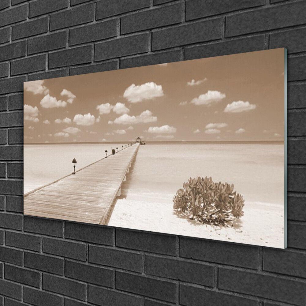 Tableau sur verre Image Impression 100x50 Paysage Mer Pont