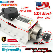 Square 22kw Er20 Air Cooled Spindle Motor 4 Bearing 24000rpm For Cnc Routerus