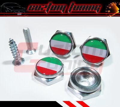 FOR FIAT 500 L GREEN WHITE RED ITALIAN FLAG LOGO LICENSE PLATE FRAME BOLT SCREW