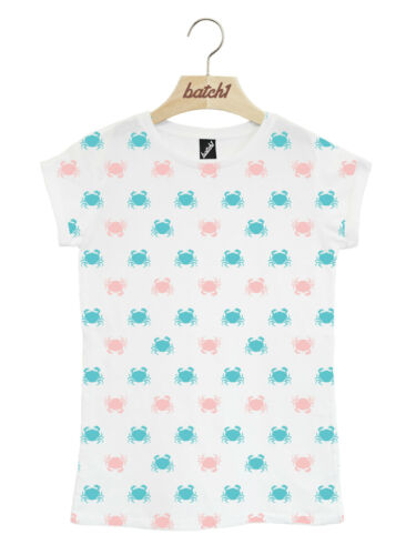 BATCH1 CRAB REPEAT FASHION PRINT BRITISH SUMMER SEASIDE WOMENS T-SHIRT