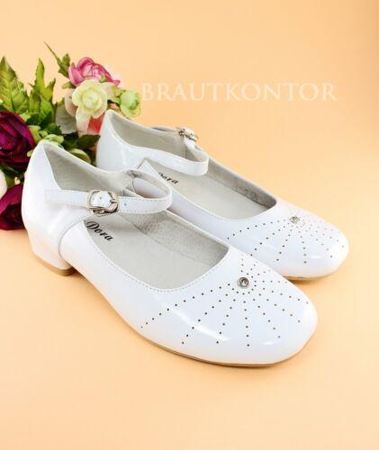 bk-27 Communion Chaussures Chaussures Fille Ballerine Blanc strass 32,33,34,35,36,37
