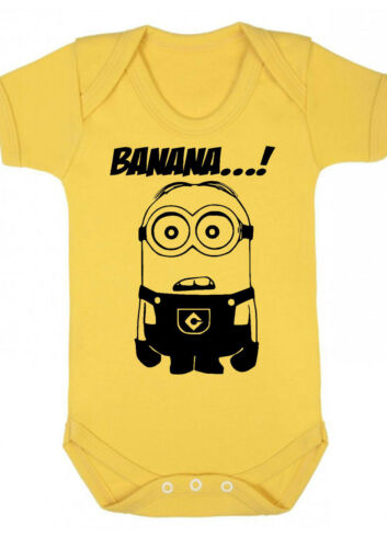 VEST,BABYGROW,GIFT,BABY CLOTHES Minion d1 BABY BOY,GIRL,MINIONS Yellow bodysuit