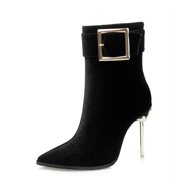 botas stivaletti  stiletto 11 cm caviglia negro eleganti pelle sintetica 9547