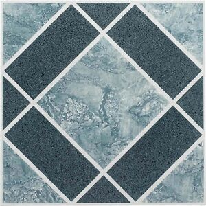 Vinyl Floor Tiles Self Adhesive Peel And Stick Blue Best Bathroom Flooring 12x12 786641359867 Ebay