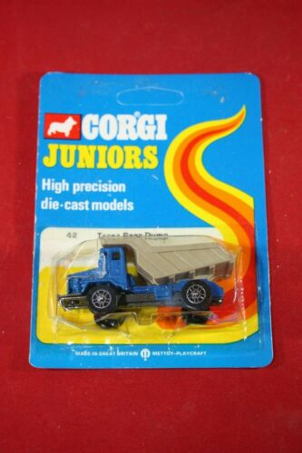 1973 Corgi Mettoy Juniors #42 Terex Rear Dump Truck Blue Card MOC Grey Bed
