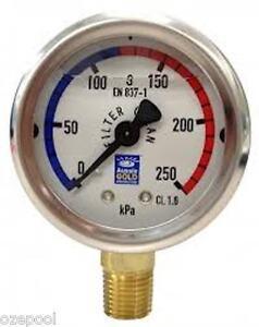 Pressure-Gauge-Oil-Filled-use-for-Media-Cartridge-or-DE-filters-BOTTOM-MOUNT