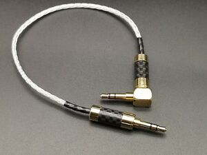 OCC Silver Plated 3.5mm to 3.5mm Male AUX Audio Cable Rhodium Plug connector