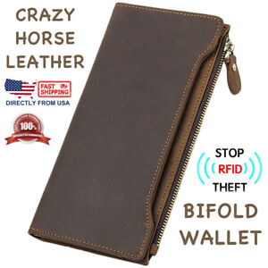 Men-039-s-RFID-Block-Crazy-Horse-Leather-ID-Window-Zipper-Pocket-Long-Clutch-Wallet