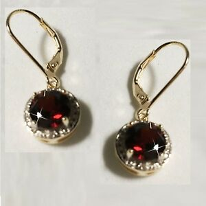 Red-Garnet-Tiny-Diamond-Leverback-Dangle-Earrings-14k-Yellow-Gold-over-925-SS