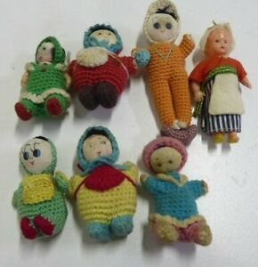 ANTIQUE-HAND-MADE-CROCHET-MINIATURE-DOLLS-COSY-SWEETY-FOLK-CRAFT-ESTATE-LOT-OF-7
