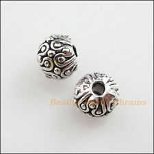 8Pcs Tibetan Silver Tone Round Ball Flower Spacer Beads Charms 6mm