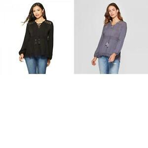 New-Knox-Rose-Women-039-s-Long-Sleeve-Crochet-Hem-Lace-Up-Neck-Blouse-Top-Shirt