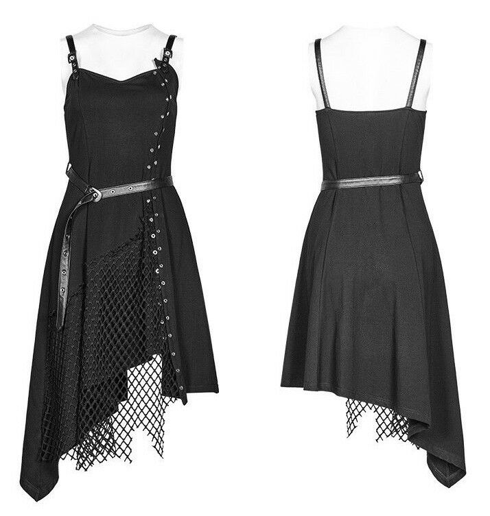 Punk Rave OQ-398 Casual Punk Mesh Dress with Belt and Adjustable Shoulder Straps