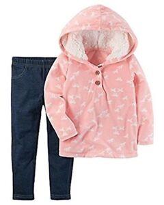 Carter's Baby Girl Pink Fleece Horse Hoodie & Navy Jeggings 2pc Set NWT $24