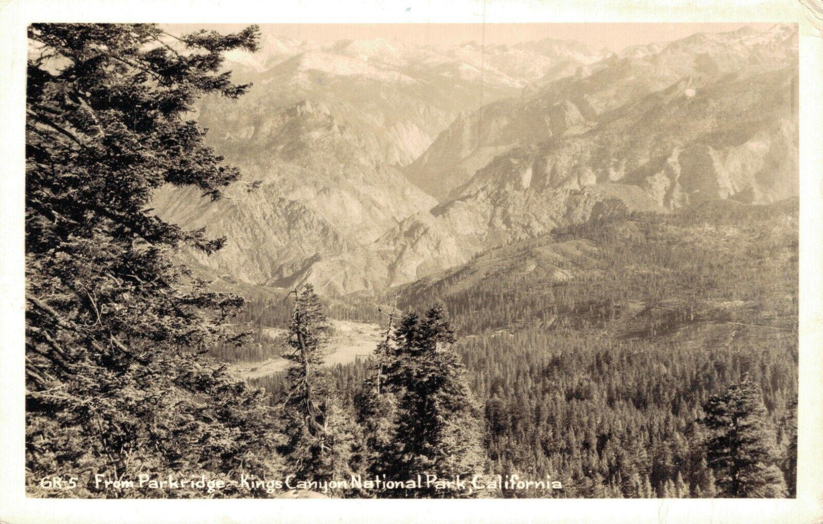 USA From Park Bridge Kings Canyon National Park California RPPC 04.29