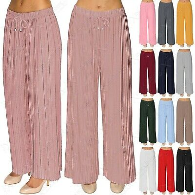 UnabhäNgig New Ladies Womens Pleated Palazzo Trousers Flare Long Leg Trouser Pants