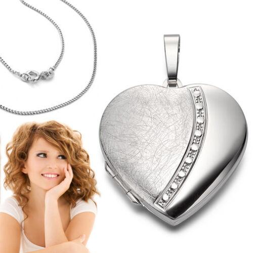 XXL Foto Amulett Medaillon Herz Anhänger mit Kette Echt Silber 925 für 2 Bilder