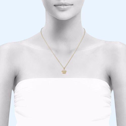 Cubic Royal Necklace Charm Women Men 10K Solid Yellow Gold CZ Crown Pendant