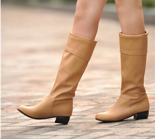 Bottes hiver confortable élégant femme talon bas 3 cm comme cuir beige 8823