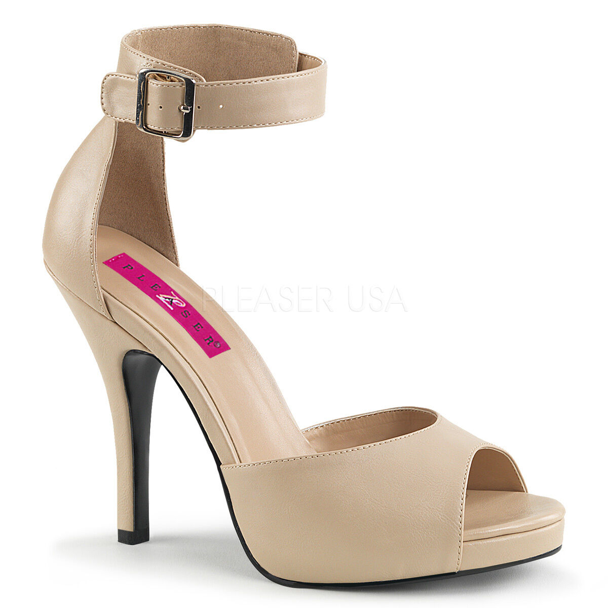 Sexy 5  High Heel Concealed Platform Closed Back Cream Matte chaussures EVE02 CRPU
