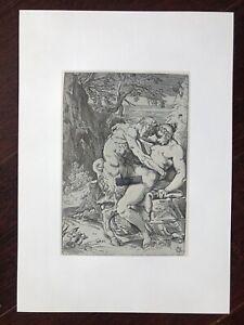 """Erotici litografia Franz di Bayros """"Satiro prende ninfa"""" fare sesso in natura libera"""