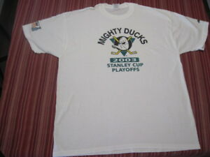 Mighty-Ducks-2003-Stanley-Cup-Payoffs-Mens-Cotton-T-Shirt-XL-Vintage-NEVER-WORN