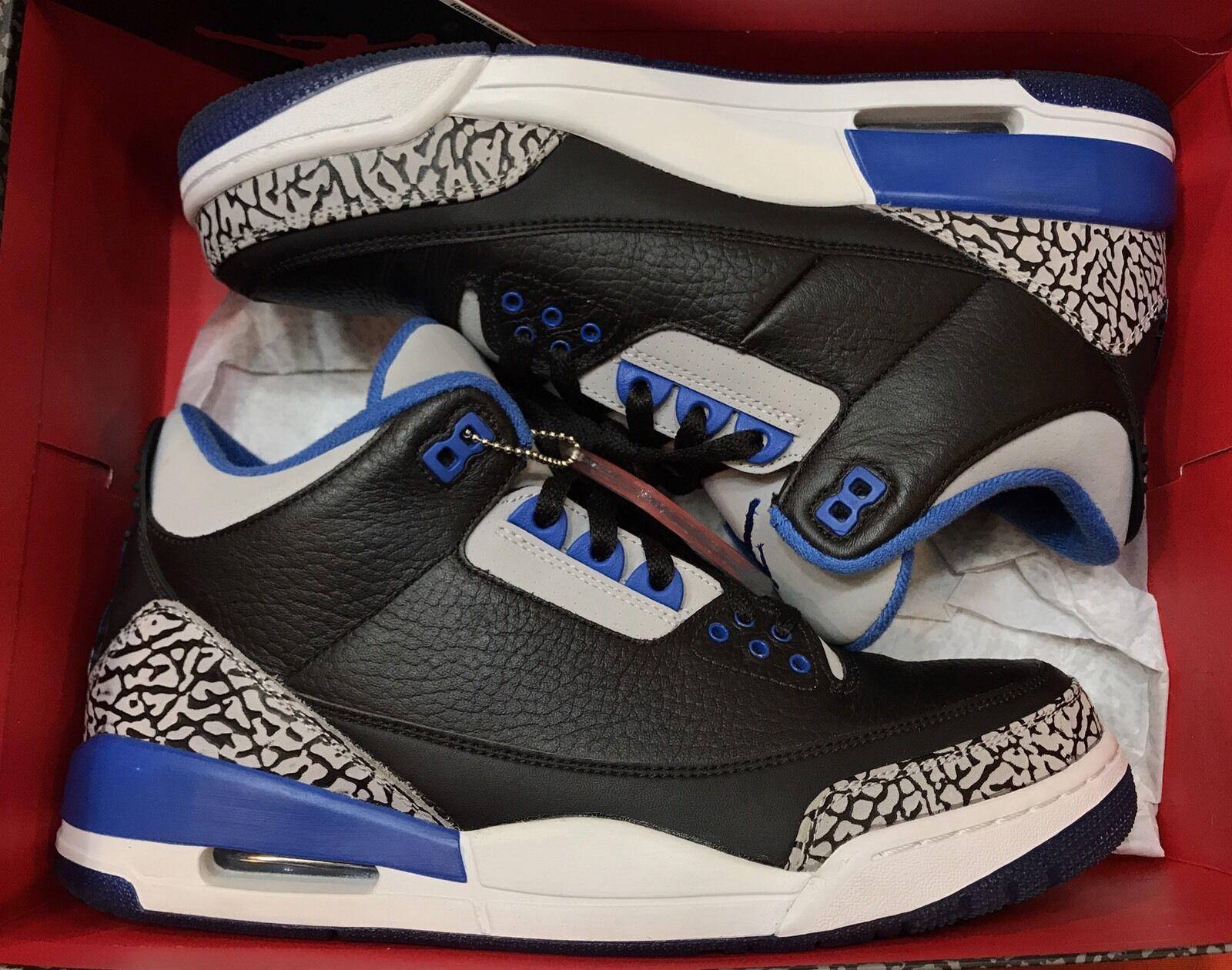 Jordan Retro III Sport Blue 3 Black White Cement OG 136064-007 Sz 10