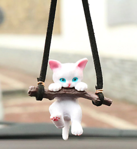 Hanging-Car-Ornament-Kitten-On-A-Log-Car-Pendant-Rearview-Mirror-Accessory
