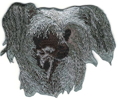 """2 3//4/"""" x 3 1//4/"""" Chinese Crested Dog Breed Portrait Embroidery Patch"""