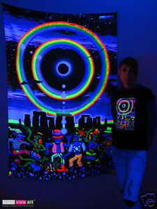 Image Is Loading STONEHENGE ECLIPSE Psychedelic Art UV Black Light Tapestry