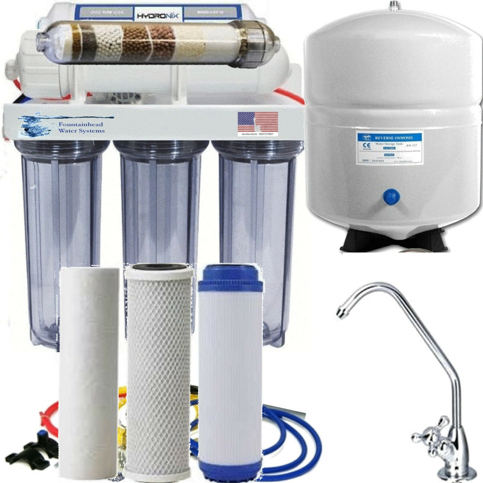 REVERSE OSMOSIS ALKALINE IONIZER NEG ORP POTENTIAL CLEAR HOUSINGS LG 5 GAL TANK