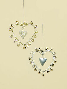 2-x-shabby-chic-jingle-bell-Hearts-Christmas-tree-Baubles-Decorations