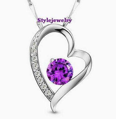 Lovely Stamp S925 Sterling Silver Amethyst Diamond Created Heart Necklace N244