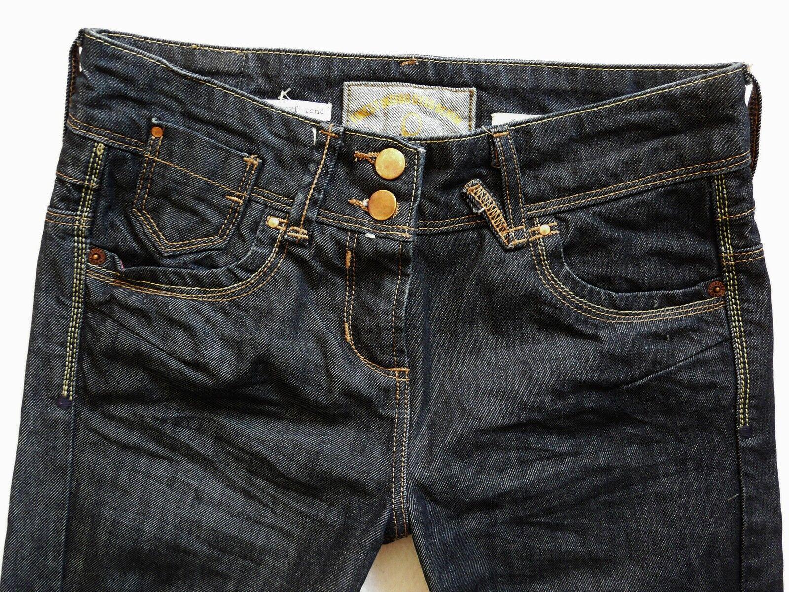 River Island Donna Jeans Taglia Taglia Taglia 6 R Fidanzato lavaggio scuro doppio bottone 26 32 2185ed