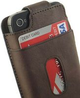Limited Luxury Genuine Dark Brown Leather Wallet Flip Case For Apple Iphone 4s 4 on Sale