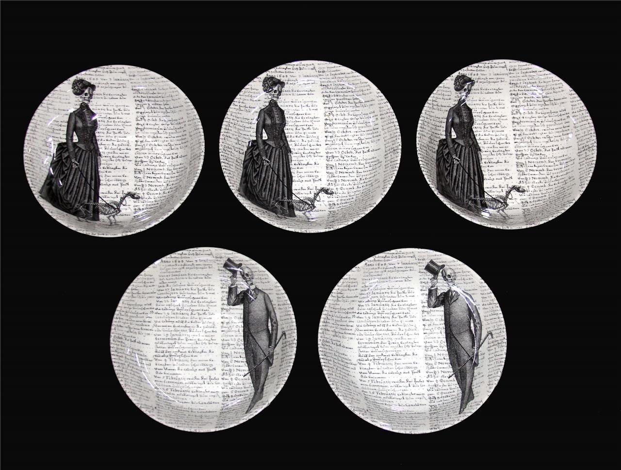 5 Victorian English Pottery & Royal Stafford Skeleton Man Woman Cereal Bowls NEW