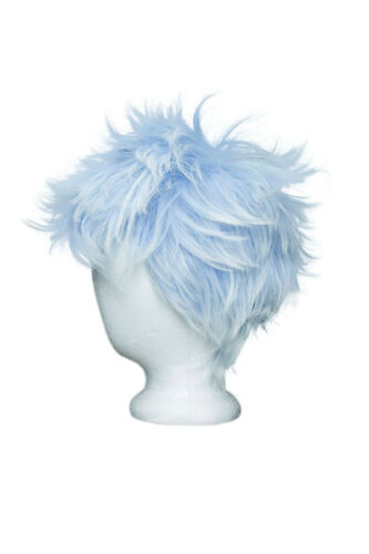 5/'/' Spiky Fluffy Short Cut with No Bangs Saxe Blue Fade Snow White Cosplay Wig